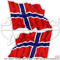 """NORWAY Flying Flag NORWEGIAN Vinyl Bumper Stickers, Decals 120mm (4.7"""") x2"""