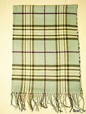 NEW Cashmere Scarf Light Blue Plaid Checks Purple Stripes Soft Warm Men Women C3