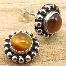 Cab TIGER'S EYE Gemset LIGHTWEIGHT Studs Earrings ! Silver Plated GIFT Jewellery
