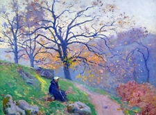 Oil painting charming autumn landscape with countrywoman Hand painted nice
