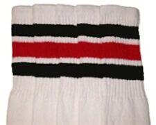 "22"" KNEE HIGH WHITE tube socks with BLACK/RED stripes style 1 (22-74)"