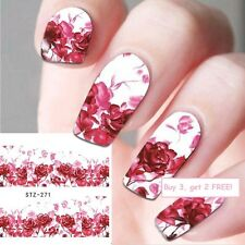 Nail Art Water Decals Stickers Valentines Red Pink Roses Love Gel Polish (271)