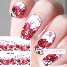 NAIL Art Adesivi Acqua Decalcomanie San Valentino Rosso Rose Rosa Amore SMALTO GEL (271)