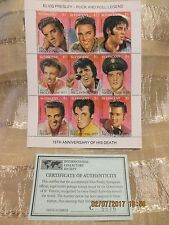 Elvis Presley15th Anniversary of Death Postage Stamp St. Vincent with COA #C5516