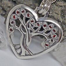 Peter Stone Yggdrasil Lebensbaum 925 Silber Granat Herz Anhänger mit Weltenbaum