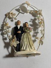Lovely Vintage Brunette Bride & Groom Cake Topper 1950s