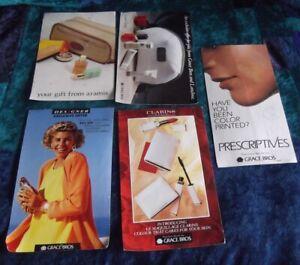 5 X 1990s GRACE BROS PROMOTIONS POSTCARDS, CLARINS,LANCOME,ARAMIS,PRESCIPT,AUST
