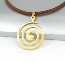 Gold Round Spiral Tribal Stainless Steel Pendant Brown Leather Choker Necklace
