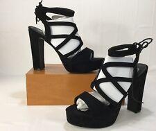 Boohoo Black Open Toe Platform Ankle Tie Strappy Sandal SZ US 10 EUR40.5 UK8