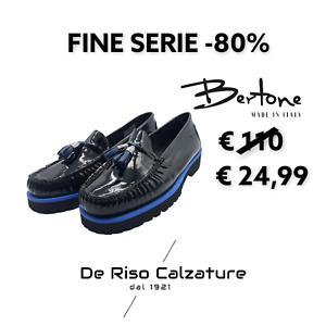 Bertone Mocassino Donna Vernice Nera 100%  Pelle Made in Italy -80% Sconto