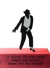 Classic Michael Jackson 2 Colour Black And Silver Glitter Cake Topper Laser Cut