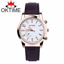 OKTIME fashion leather watch mens women simple design quartz leisure, business