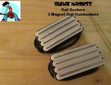 G.M.Railbuckers 3 magnet quad rail Humbuckers White (Neck and Bridge Set)