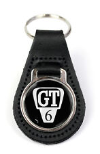 Triumph GT6 Grille Logo Quality Black Leather Keyring