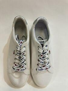 NEW Tommy Jeans Womens Essential Sneakers White Ladies Sz 38 US 7.5  RRP$169