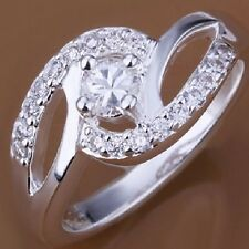 Size 4 5 6 7 8 9 10 11 Silver Plated Ring Wedding Engagement Bridal  Promise