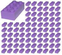 ☀️100 NEW LEGO 2x4 MEDIUM LAVENDER PURPLE Bricks (ID 3001) BULK Parts city town