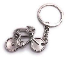 Fahrrad Rennrad Fahrer mit Helm silber aus Metall Schlüsselanhänger Anhänger