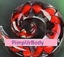 Pyrex Glass Spiral Ear Stretcher, Spiral Taper, Red & Black, 4mm Brand New