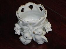 kleiner Übertopf aus Porzellan weiß mit Vogelmotiv ca. 6,5x7,5cm (gebraucht) 02