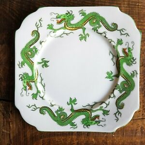 Vintage Square Ceramic Salad Desert Plate with Chinese Green Dragons
