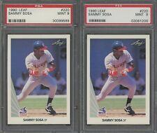 Investor Lot of (2) 1990 Leaf #220 Sammy Sosa RC Rookie PSA 9 MINT