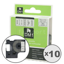 """10pk Black on Clear Tape Label Compatible for DYMO 40910 D1 9mm 3/8"""""""