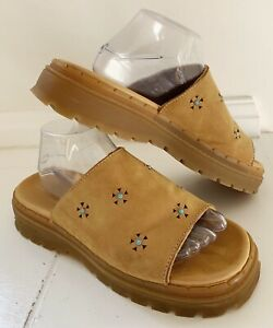 SKECHERS JAMMERS Women Slides Sandals Sz 10 Brown Turquoise/Cutout Detail