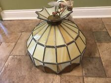 Vintage Tiffany Style Leaded Stained Glass Swag Hanging Lamp