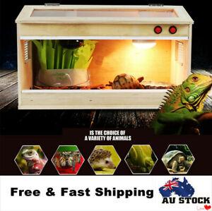 Wooden Snake Reptiles Enclosure E27 Screw Heat Cage Turtle Crab Lizard Frog Tank
