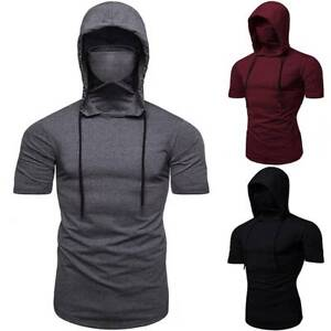 Men Hooded Face Cover Short Sleeve T-Shirt Hoodie Slim Sports Gym Muscle Tee Top