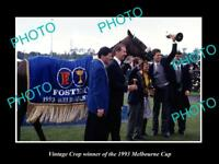 LARGE HISTORIC HORSE RACING PHOTO OF VINTAGE CROP 1993 MELBOURNE CUP WINNER