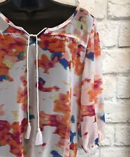 Arizona Jean Co. Sheer Polyester Floral 3/4 Sleeve Peasant Blouse Watercolor Sm