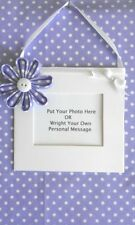 LILAC flower hanging mini photo frame your own personal message plaque  keepsake