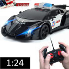 Remote Control Police Car High Speed RC Cars 1:24 Fast Racing Drifting Kids Toy