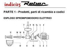 indici15 Elica Spremipomodoro n°3 Elettrico Resina Acetalica  Ricambi Reber