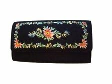 Vintage Purse Black  Embroidered Clutch  Floral Evening Bag 1960S