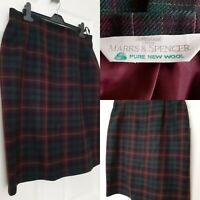 ST. MICHAEL M&S MARKS AND SPENCER Pure New Wool Plaid Check Tartan Skirt Size 18