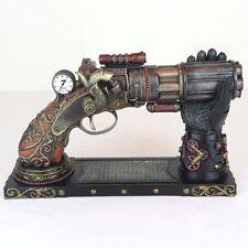 """Steampunk 6 Barrel Pistol Gun w/ Gauntlet Stand Bronze Figurine 8.5""""L New"""