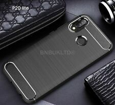 For Huawei P20 Lite Carbon Fibre Gel Case Cover & Glass Screen Protector