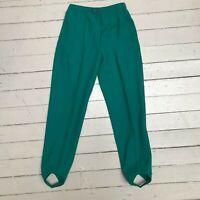 Vintage 1940s WHITE STAG Womens Turquoise Side Zip Stirrup Ski Pants XS SM