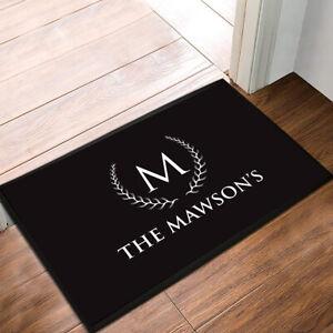 Personalised Family name Home Black & White Laurel door Home mat  60 x 40 cm