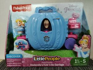 Fisher-Price Disney Princess LittlePeople Cinderella Fold n Go Carriage NEW