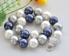 """P7500 20"""" 20mm White Blue Gray Round South Sea Shell Pearl Necklace Cougar CZ"""
