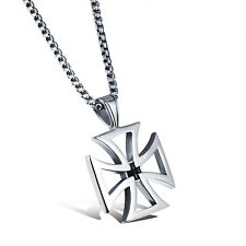Square Hollow Cross Silver Surgical Stainless Steel Pendant with Necklace Gift