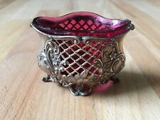 Antique 1900 Art Nouveau Style Solid Silver Salt Condiment Pot Pink Glass Liner