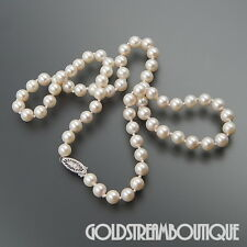 JAPANESE AKOYA WHITE CULTURED PEARL 6-6.5 mm NECKLACE WITH 14KT GOLD CLASP