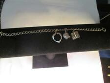 "7"" CHARM BRACELET WITH 3 CHARMS 925  STERLING SILVER ESTATE D1"