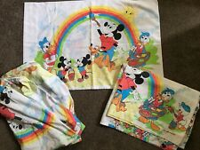 Vintage Disney Mickey Mouse and Friends Twin 3 Piece Sheet bedding Set - Rainbow