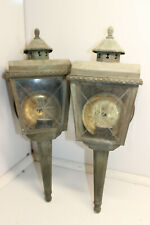 "PAIR OF VINTAGE ANTIQUE OUTSIDE WALL MOUNT LANTERNS LIGHTS ""BARN FIND"""